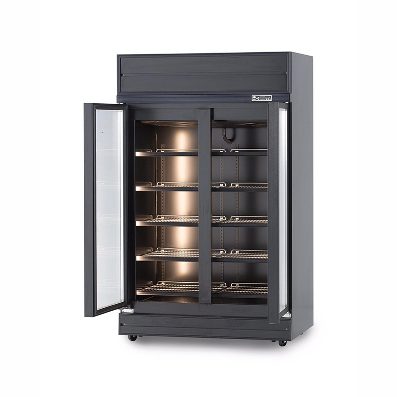 2 Door Glass Display Fridge (Black) | Flomatic Industries Upright Chillers & Freezers
