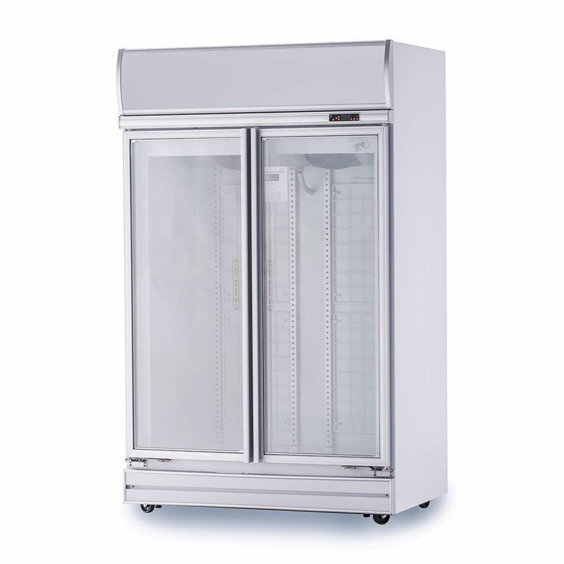 2 Door Glass Display Fridge (White) | Flomatic Industries Upright Chillers & Freezers
