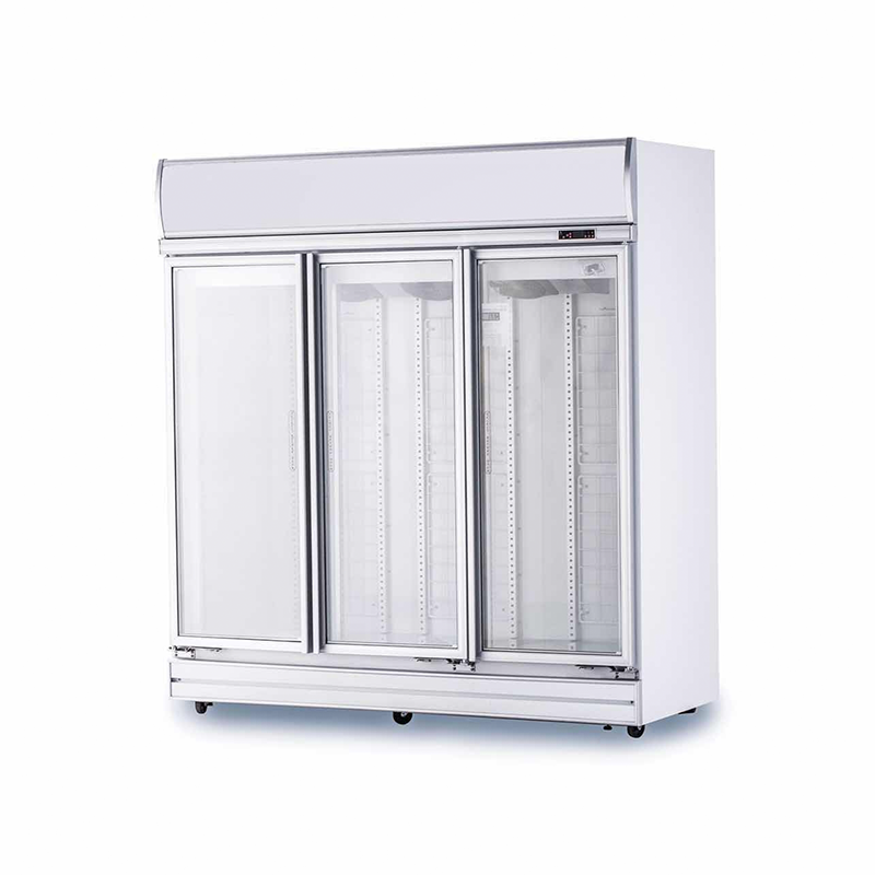 3 Door Glass Display Fridge (White) | Flomatic Industries Upright Chillers & Freezers